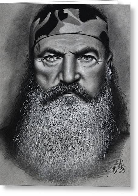 White Beard Pastels Greeting Cards - Phil Robertson Greeting Card by Samantha Howell