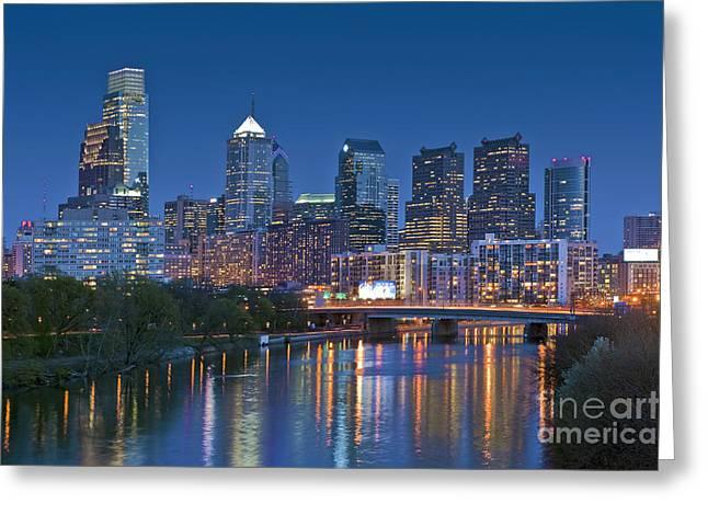 Phila PA Night Skyline Reflections Center City Schuylkill River Greeting Card by David  Zanzinger