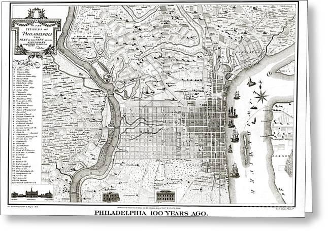 Philadelphia History Drawings Greeting Cards - Philadelphia - Pennsylvania - United States - 1875 Greeting Card by Pablo Romero