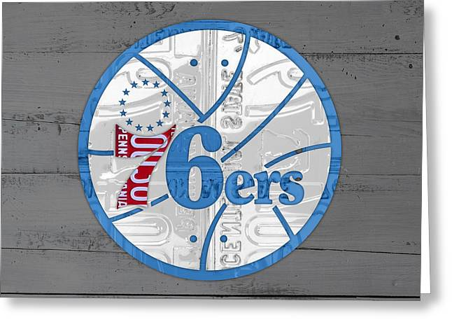 76ers Greeting Cards - Philadelphia 76ers Basketball Team Retro Logo Vintage Recycled Pennsylvania License Plate Art Greeting Card by Design Turnpike