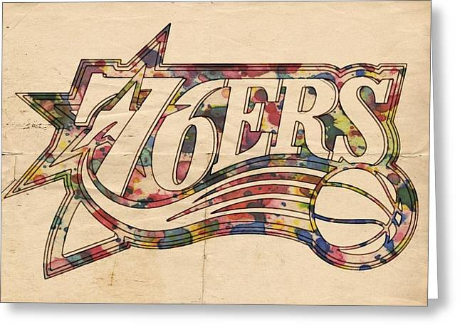 Philly Sports Greeting Cards - Philadelphia 76ers Poster Art Greeting Card by Florian Rodarte