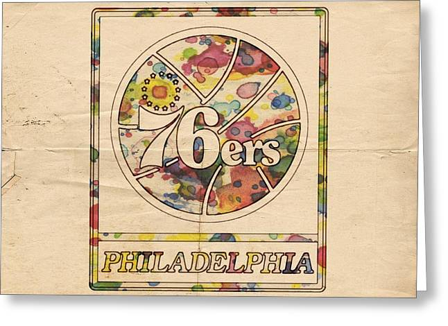 Sixers Greeting Cards - Philadelphia 76ers Poster Vintage Greeting Card by Florian Rodarte