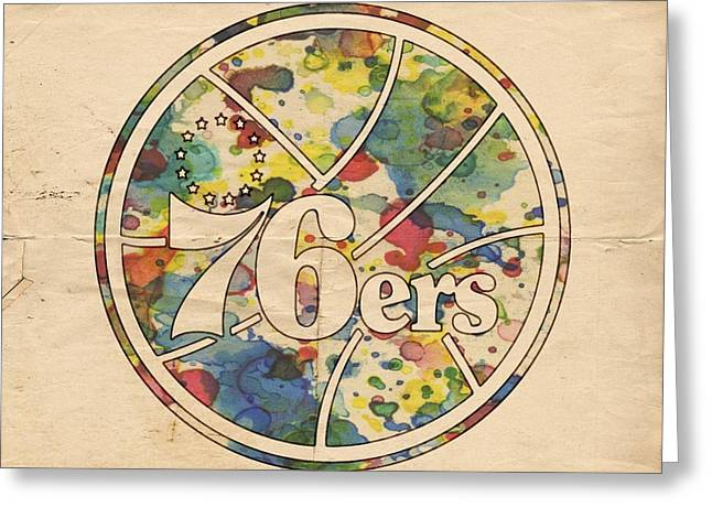 Sixers Greeting Cards - Philadelphia 76ers Retro Poster Greeting Card by Florian Rodarte