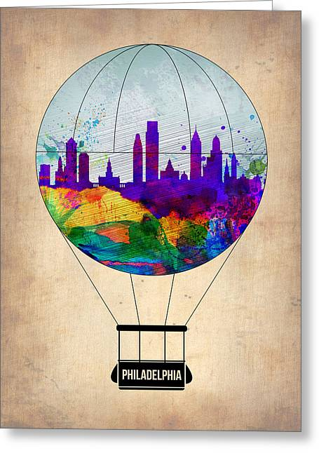 Tourists Greeting Cards - Philadelphia Air Balloon Greeting Card by Naxart Studio