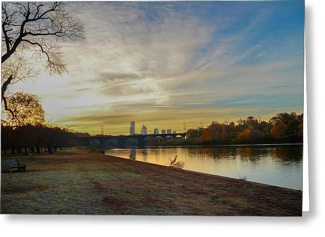 Philadelphia Digital Art Greeting Cards - Philadelphia along the Schuylkill River at Sunrise Greeting Card by Bill Cannon