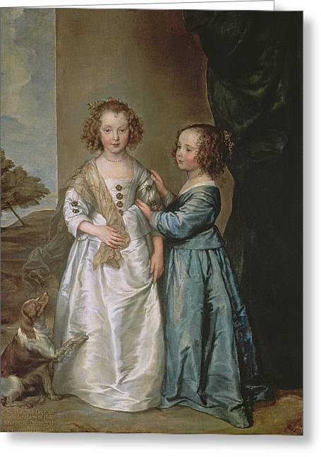 Spaniel Greeting Cards - Philadelphia And Elisabeth Wharton, 1640 Greeting Card by Sir Anthony van Dyck