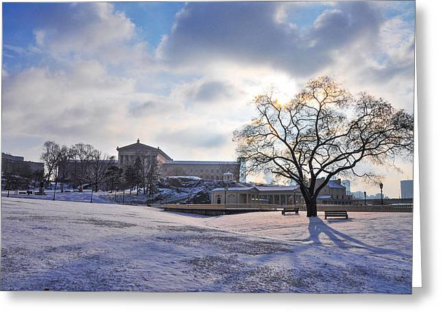 Philadelphia Art Museum Greeting Cards - Philadelphia Art Museum and Waterworks in the Snow Greeting Card by Bill Cannon