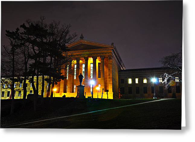Philadelphia Art Museum Greeting Cards - Philadelphia Art Museum  at Night from the Rear Greeting Card by Bill Cannon