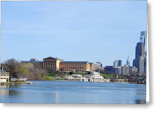 Philadelphia Digital Art Greeting Cards - Philadelphia Art Museum with Cityscape Greeting Card by Bill Cannon