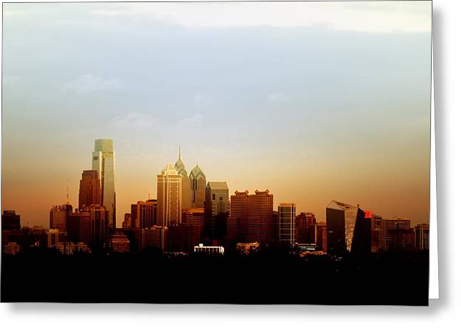 Phila Digital Art Greeting Cards - Philadelphia at Dusk Greeting Card by Bill Cannon