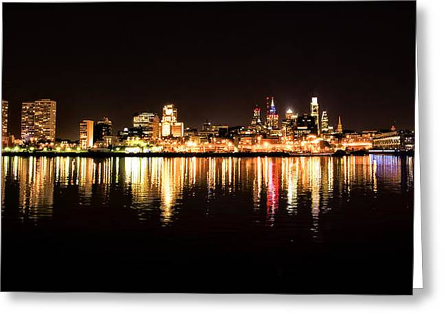Philadelphia Digital Greeting Cards - Philadelphia at Night from the Delaware River Greeting Card by Bill Cannon