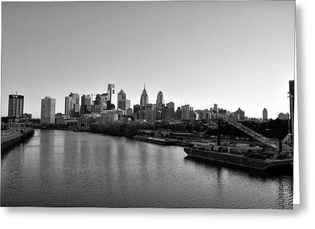 South Philadelphia Digital Greeting Cards - Philadelphia Black and White Greeting Card by Bill Cannon
