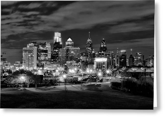 Philadelphia Digital Greeting Cards - Philadelphia Black and White Cityscape Greeting Card by Bill Cannon