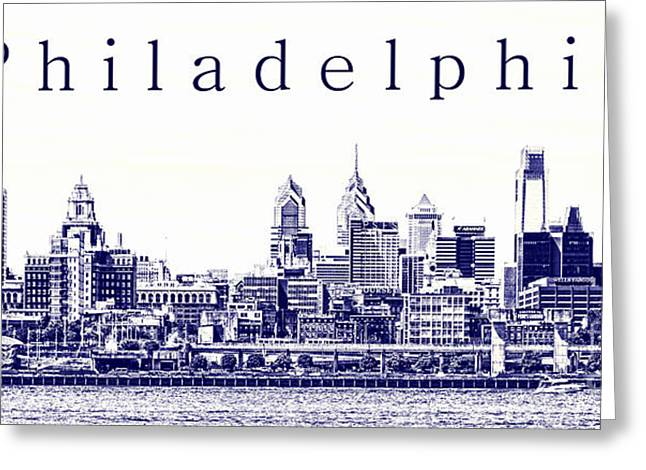 Philadelphia Skyline Greeting Cards - Philadelphia Blueprint  Greeting Card by Olivier Le Queinec