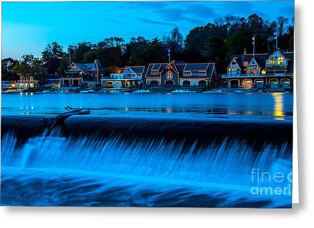 Boat House Row Greeting Cards - Philadelphia Boathouse Row at Sunset Greeting Card by Gary Whitton