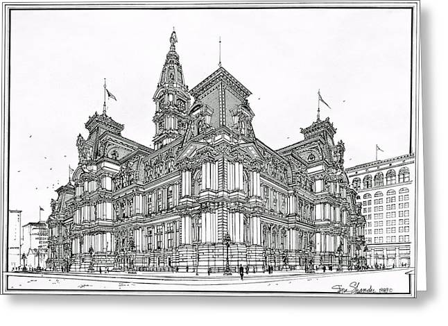 City Hall Drawings Greeting Cards - Philadelphia City Hall 1911 Greeting Card by Ira Shander