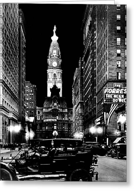 William Penn Greeting Cards - Philadelphia City Hall 1916 Greeting Card by Benjamin Yeager