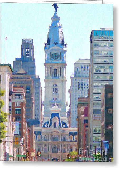 Broad Street Digital Art Greeting Cards - Philadelphia City Hall 20130703 Greeting Card by Wingsdomain Art and Photography