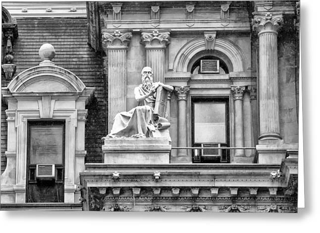 Air Conditioner Greeting Cards - Philadelphia City Hall - Air Conditioners and Artwork - Black an Greeting Card by Bill Cannon