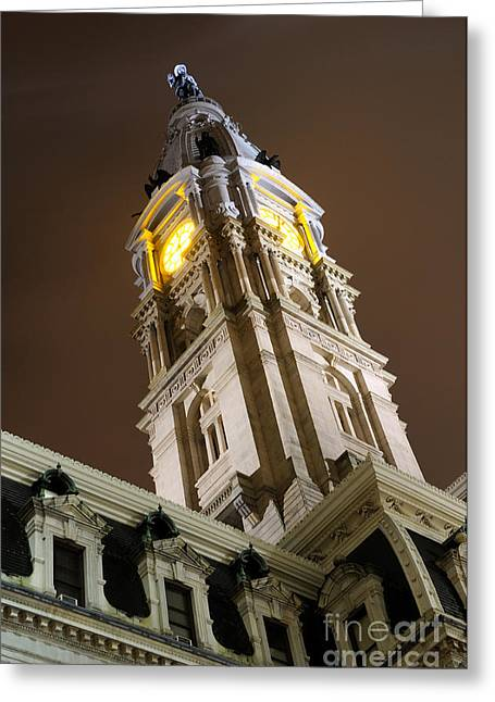 Philadelphia City Hall Greeting Cards - Philadelphia City Hall Clock Tower at Night Greeting Card by Gary Whitton