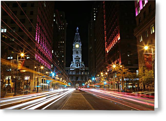 William Penn Greeting Cards - Philadelphia City Hall -- Night Greeting Card by Stephen Stookey