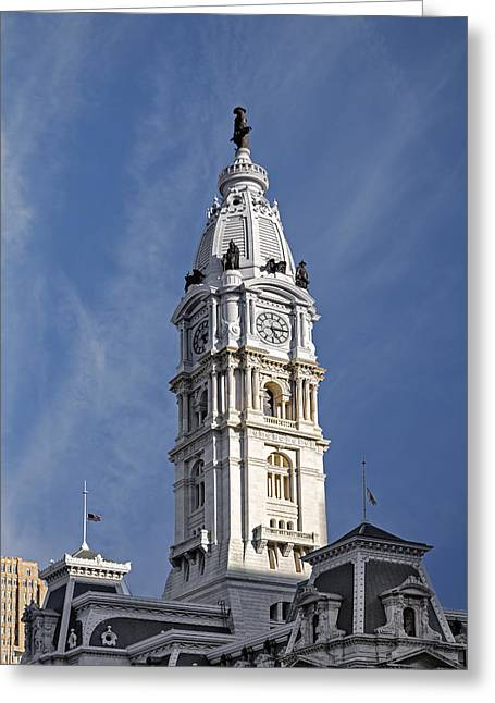 Beaux-arts Greeting Cards - Philadelphia City Hall Tower Greeting Card by Susan Candelario