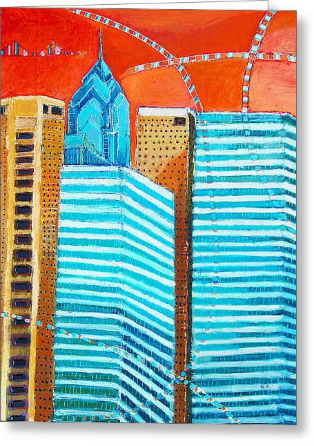 South Philadelphia Mixed Media Greeting Cards - Philadelphia cityscape Greeting Card by Habib Ayat