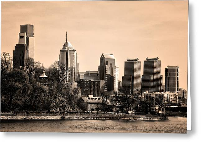 Phila Greeting Cards - Philadelphia Cityscape in Sepia Greeting Card by Bill Cannon