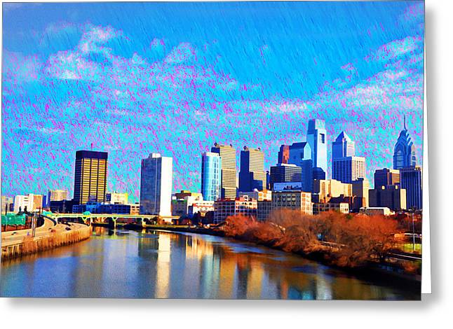 South Philadelphia Digital Greeting Cards - Philadelphia Cityscape Rendering Greeting Card by Bill Cannon
