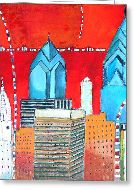 South Philadelphia Greeting Cards - Philadelphia Cityscape With Red Greeting Card by Habib Ayat