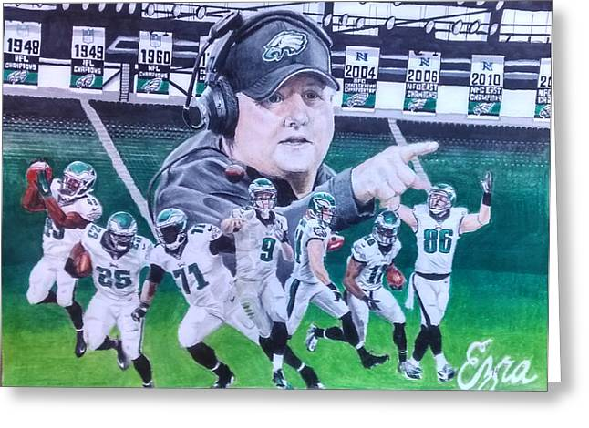 Kelly Greeting Cards - Philadelphia Eagles Chip Kelly Mural Greeting Card by Ezra Strayer