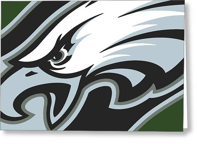 Sports Art Print Greeting Cards - Philadelphia Eagles Football Greeting Card by Tony Rubino