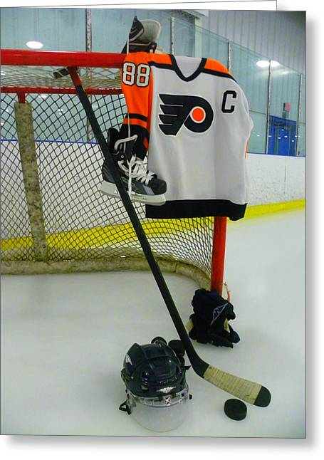 Glove Greeting Cards - Philadelphia Flyers Eric Lindros Away Hockey Jersey Greeting Card by Lisa Wooten