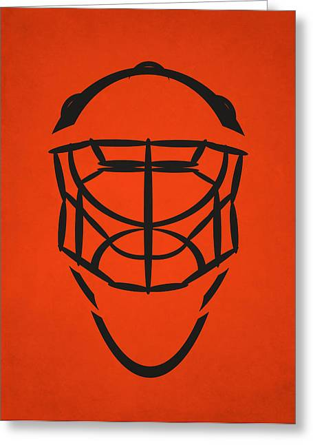 Flyer Greeting Cards - Philadelphia Flyers Goalie Mask Greeting Card by Joe Hamilton
