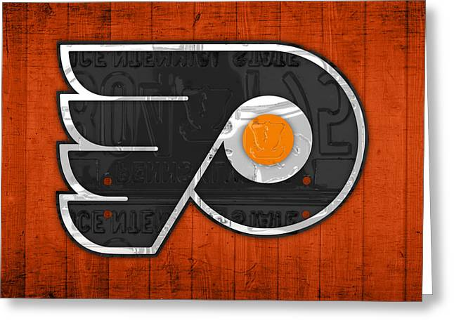 Pennsylvania Mixed Media Greeting Cards - Philadelphia Flyers Hockey Team Retro Logo Vintage Recycled Pennsylvania License Plate Art Greeting Card by Design Turnpike