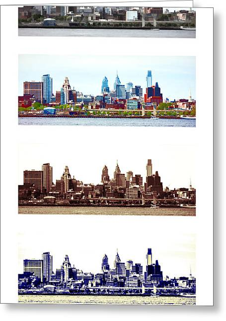 Philadelphia Skyline Greeting Cards - Philadelphia Four Seasons Greeting Card by Olivier Le Queinec