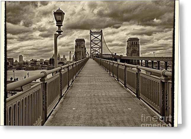 Ben Franklin Bridge Greeting Cards - Philadelphia from Ben Franklin Bridge 1 Greeting Card by Jack Paolini