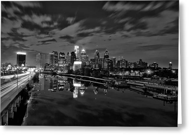Philadelphia Digital Greeting Cards - Philadelphia From South Street At Night in Black and White Greeting Card by Bill Cannon