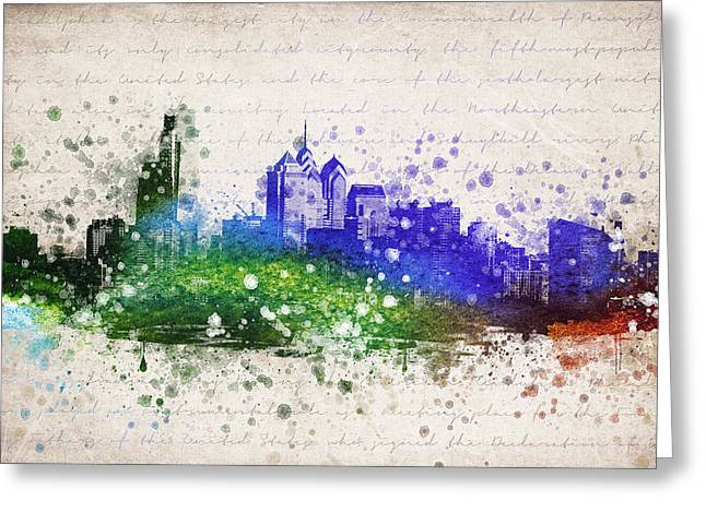 Pennsylvania Mixed Media Greeting Cards - Philadelphia in Color Greeting Card by Aged Pixel