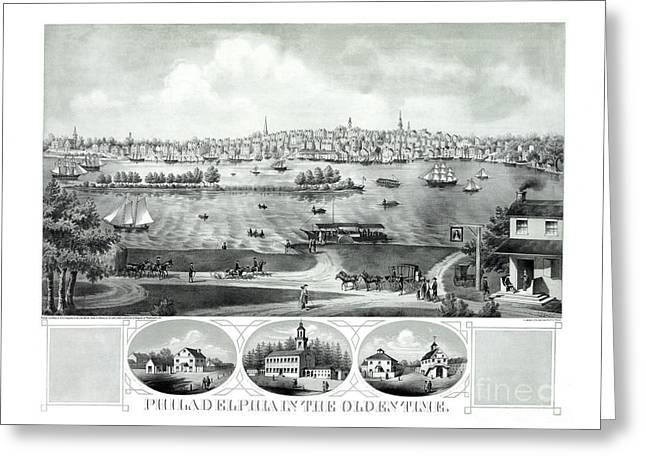 Philadelphia History Drawings Greeting Cards - Philadelphia in the olden time - 1875 Greeting Card by Pablo Romero