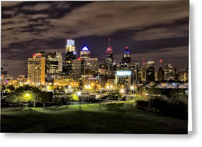 Philadelphia Digital Greeting Cards - Philadelphia Lights Greeting Card by Bill Cannon
