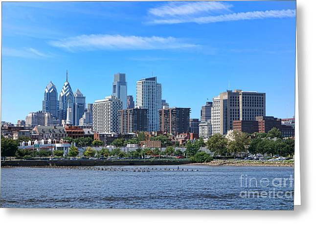 Philadelphia Living Greeting Card by Olivier Le Queinec