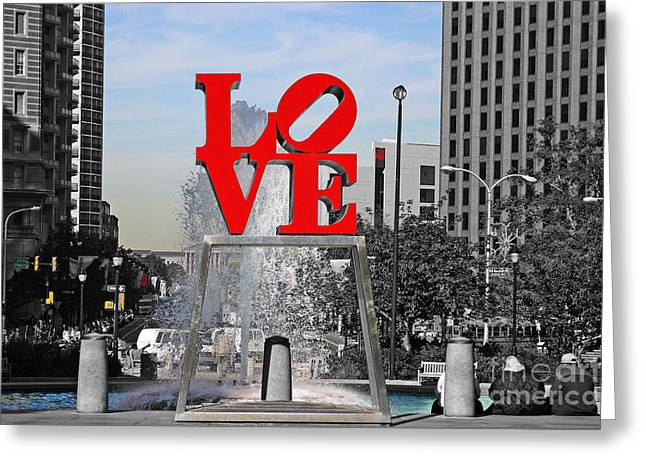 John F. Kennedy Plaza Greeting Cards - Philadelphia Love 2005 Greeting Card by John Rizzuto