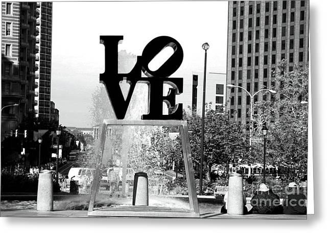 Philadelphia Love Bw Greeting Card by John Rizzuto