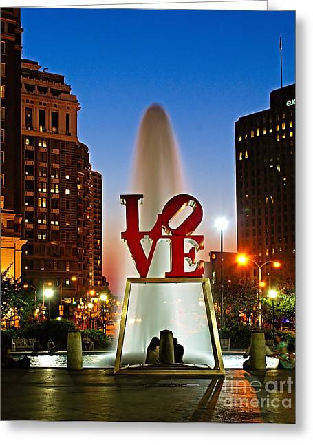 Architecture Art Greeting Cards - Philadelphia LOVE Park Greeting Card by Nick Zelinsky