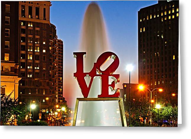 Philadelphia LOVE Park Greeting Card by Nick Zelinsky