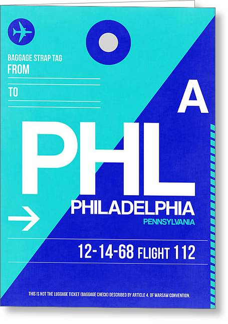 Pennsylvania Mixed Media Greeting Cards - Philadelphia Luggage Poster 1 Greeting Card by Naxart Studio