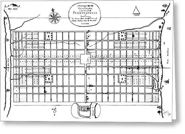 Philadelphia: Map, 1683 Greeting Card by Granger