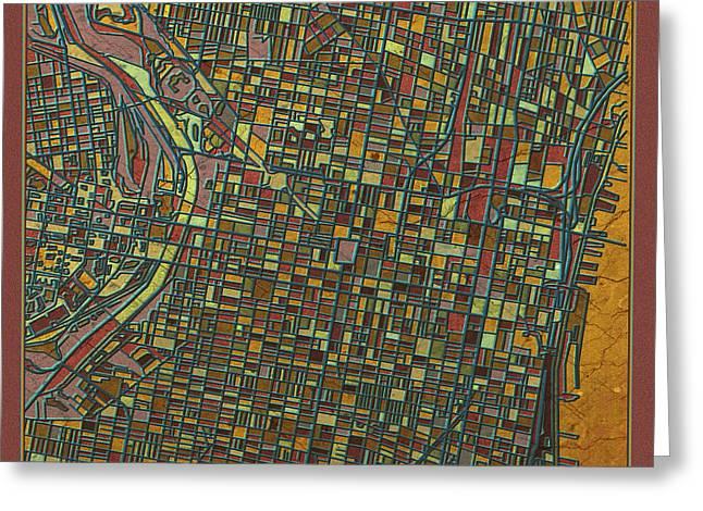 Philadelphia Digital Art Greeting Cards - Philadelphia Map Antique Greeting Card by MB Art factory