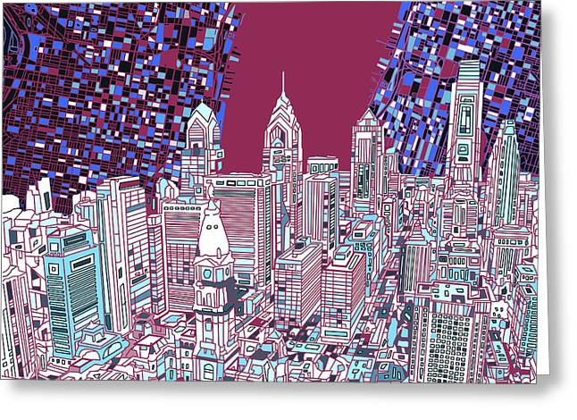 Philadelphia Mixed Media Greeting Cards - Philadelphia Map Panorama 2 Greeting Card by MB Art factory